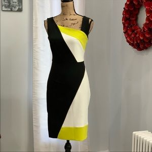 Milly colorblock green white sheath dress size 0